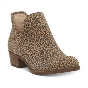 Lucky Brand Baley2 Booties Suede Leopard Size 9.5M